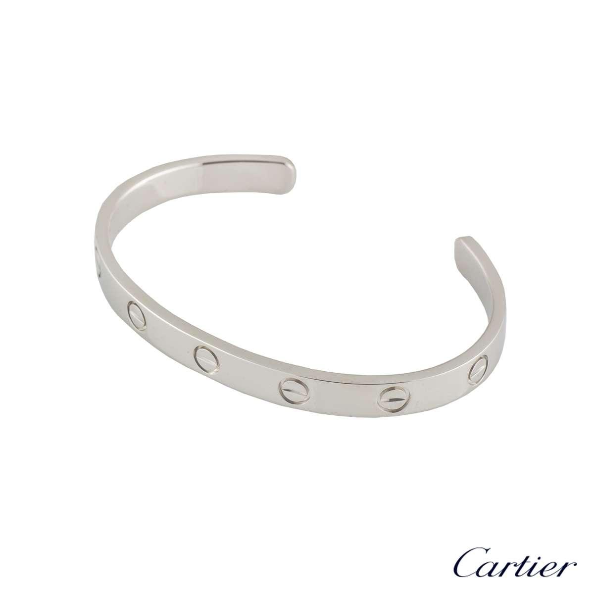 White Gold Cuff Bracelet: Cartier 18k White Gold Love Cuff Bracelet Size 16 B6032516